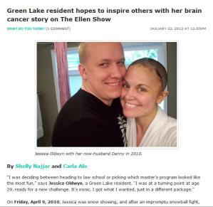 "Screenshot of MyGreenLake.com, showing the article ""Green Lake resident hopes to inspire others with her brain cancer story on The Ellen Show"" written by Shelly Najjar and Carla Alo"