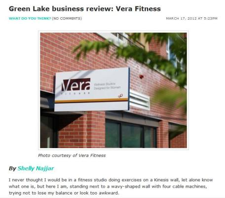 Screen shot of the Green Lake business review: Vera Fitness article on MyGreenLake.com