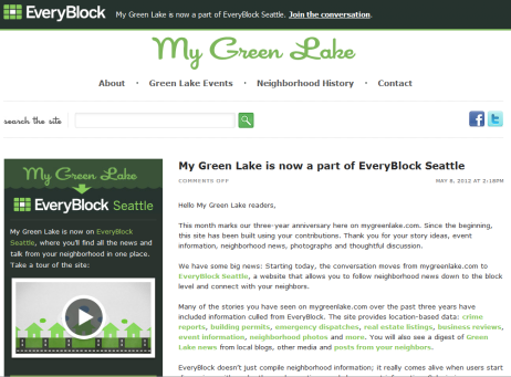 Screenshot of the article, which can be found at http://www.mygreenlake.com/2012/05/greenlake-everyblock/