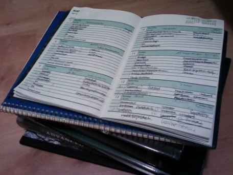 A very small selection of my many textbooks for the past year, with a page from my very full planner. (C) 2012 Shelly Najjar