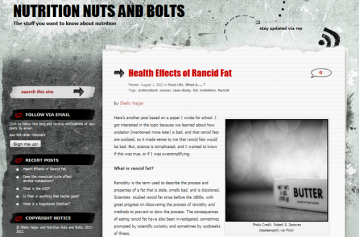 Screen shot of the Health Effects of Rancid Fat blog post at Nutrition Nuts and Bolts